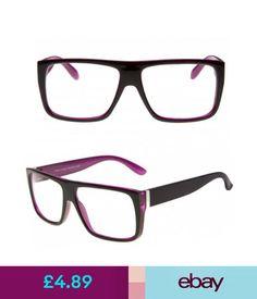 12aa29fc2b95a Sunglasses   Eyewear Flat Top Black Purple Designer Geek Clear Lens Glasses  80S Nhs  ebay  Fashion