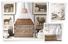 Love the large framed paintings surrounding the bed like that...    Rooms | Restoration Hardware Baby & Child