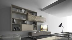 Sectional wall-mounted wooden TV wall system CrossART - 508 By Presotto design Pierangelo Sciuto Furniture Decor, Furniture Design, Wall Storage Systems, Media Unit, Media Wall, Floating Shelves, Bookcase, The Unit, Home Decor