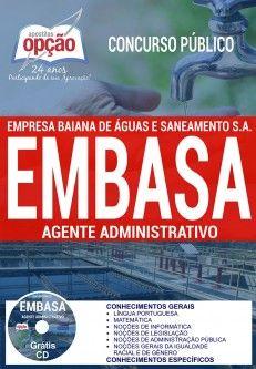 Apostila EMBASA Agente Administrativo PDF Download Digital Baixar ou Impressa Apostila Concurso Empresa Baiana de Águas e Saneamento S.A. 2017