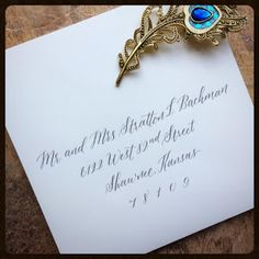 Beautiful calligraphy from Long Village Studio, located in Hendersonville, NC Match Font, Modern Crafts, Beautiful Calligraphy, Envelope, Place Cards, Place Card Holders, Studio, Wedding, Valentines Day Weddings