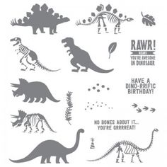 No Bones About It Dinosaur Stampin' Up! Catalog Favorites by Mary Fish, Stampin'… Dinosaur Outline, Dinosaur Bones, Dies By Dave, Dinosaur Cards, Mary Fish, Stampin Pretty, Kids Birthday Cards, Birthday Wishes, Stampin Up Catalog
