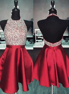 Cute burgundy short prom dresses homecoming dresses Sweet 16 Birthday Gowns Charming Prom Dresses - No Interest Credit Cards - Ideas of No Interest Credit Cards - Vestidos Backless Homecoming Dresses, Burgundy Homecoming Dresses, Beaded Prom Dress, Hoco Dresses, Dresses For Teens, Satin Dresses, Elegant Dresses, Burgundy Dress, Sexy Dresses