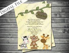 Safari Theme Boy Baby Shower Invitation - Printable, Digital. $15.00, via Etsy.