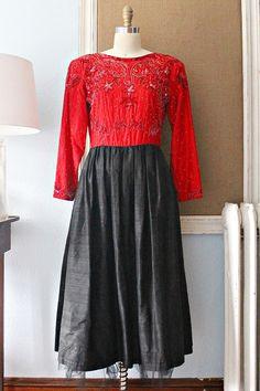 Vintage 1980s Silk + Beaded Sequin Dress