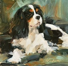 So Comfy fine art pigment print on canvas by Lindsey Bittner Graham, giclee on canvas, 6 x 6 King Charles Spaniel, Cavalier King Charles, Illustrations, Illustration Art, Art Aquarelle, Dog Portraits, Animal Paintings, Dog Art, Pet Birds