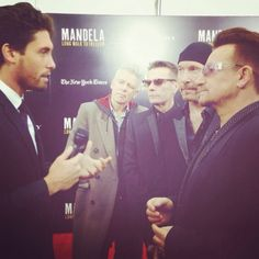 "U2 at the premiere of ""Mandela: Long Walk to Freedom"" in New York City, November 2013 #u2NewsActualite #u2NewsActualitePinterest #u2 #bono #PaulHewson #TheEdge #DaveEvans #DavidEvans #AdamClayton #LarryMullen #LarryMullenJr #music #rock #film #picture #cinema #LongWalkToFreedom #Mandela #2013  http://who2beatles.tumblr.com/"