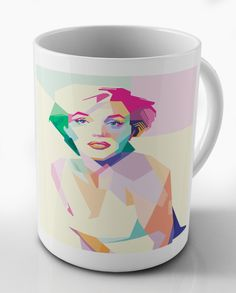 Marilyn Monroe Pop Art Mug available to buy from our pop art shop at www.handpaintme.com. We ship worldwide  #popart #portraits #handpainted #art #mugs #homewear #kitchenwear #gifts #designgifts #funkygifts #popartshop #filmicons #icons #marilynmonroe #monroe #normajean