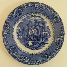 Alhambra England Blue Staffordshire Transfer Ware Plate | eBay
