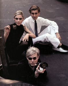 Edie Sedgwick, Chuck Wein and Andy Warhol in New York by Burt Glinn, 1965