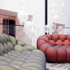 Sacha Lakic's BUBBLE sofa in a delicious colour range for the Roche Bobois spring summer collection 2016. #SachaLakic #RocheBobois #Bubblesofa
