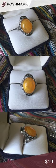 Vintage Yellow Agate Cocktail Ring sz 5 Beautiful boutique cocktail ring, featuring resin yellow agate and intricate detailing to the metal work with small marcasite accent stones. Women's size 5, brand new vintage style. *display box is just for photos and not included* vintage Jewelry Rings