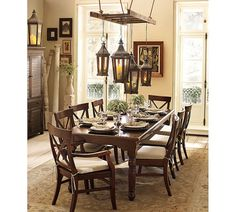 ladder with hanging lanterns via Pottery Barn