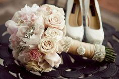 Bridal bouquet with fabric flowers and broaches