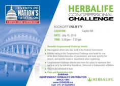 """WOW! I've just found this at """"The Nation's Triathlon"""" page: Join us and partner Herbalife for a party July 16th at Tortilla Coast on Capitol Hill to kick off our Congressional Challenge! We'll have representatives from Herbalife and Nation's Tri on hand, as well as some great food and drinks! Mark your calendar! For all details contact me! SABRINA HERBALIFE DISTRIBUTOR SINCE 1994 Helping you enjoy a healthy, active and successful life! https://www.goherbalife.com/goherb/ Call: (+1)…"""