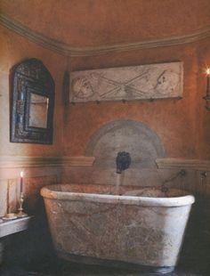 Antique Italian marble bath in the Venetian bathroom at the castle of Axel Vervoordt. via Belgian Pearls