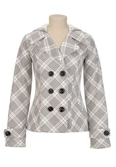 Hooded Double Button Houndstooth Coat in White Combo | $54.00 maurices.com