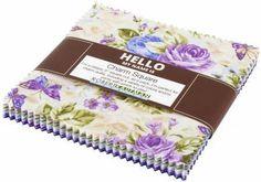 Lady Elizabeth Jewel Colorstory Charm Squares 42pc - Robert Kaufman Fabrics - Purple Floral Charm Pack, Butterfly Floral Charm Pack