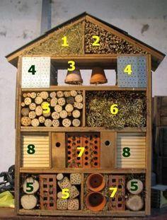 "6 things cool things to have in your garden for kids this summer! - Toby and Roo - Hotel de insectos. Cada ""habitación"" de este hotel atrae a un tipo de insecto, todos muy útil -"