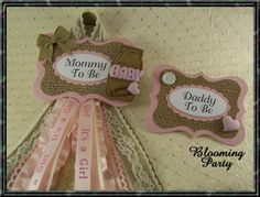 Mason Jar Pink Shabby Burlap and Lace Mommy To Be by BloomingParty