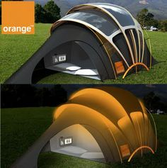 The Chill n' Charge Solar Tent.  bet this thing is expensive! how do people even think of things like this