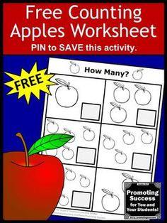 FREE Apples Math Counting Worksheet Preschool Kindergarten Special Education