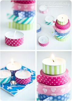 Washi taped tea lights - by Craft & Creativity - You can find washi tape and tea light candles at so many places now - they're always at Dollar Tree. These are a great way to add a pop of color and coordinate the candles with your party space. Cute Crafts, Diy And Crafts, Paper Crafts, Diy Projects To Try, Craft Projects, Washi Tape Crafts, Washi Tapes, Little Presents, Crafty Craft