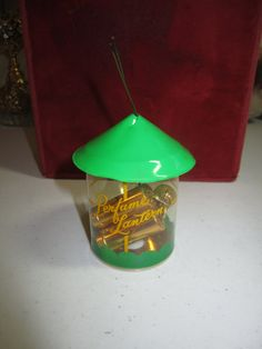 Sweet 1940's-50's unused nos novelty Princess Eve Perfume Lantern green christmas ornament with 3 metal sold perfume containers inside