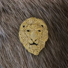 Hand Embroidered Lion Brooch