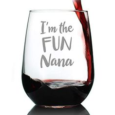 Fun Nana - Cute Funny Stemless Wine Glass, Large 17 oz, Etched Sayings, Gift Box First Time Grandma, Great Grandma Gifts, Christmas Gifts For Grandma, New Grandma, Nana Gifts, Grandmother Gifts, Cute Gifts, Best Gifts, Wine Glass Sayings