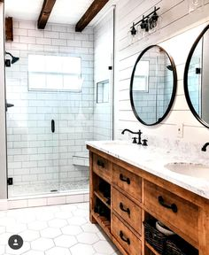 Farmhouse bathroom storage ideas, excellent country farmhouse bathroom design that can be used to create my farmhouse bathroom shelf. CHECK THIS Most Popular Farmhouse Bathroom Ideas [And The Reason Why It Looks Amazing] for more detail Diy Bathroom Remodel, Bathroom Renos, Small Bathroom, Dream Bathrooms, Basement Bathroom, Shiplap Master Bathroom, Farm House Bathroom, Farm Style Bathrooms, Budget Bathroom