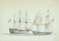 A two-Decker and a Brig sloop of war - National Maritime Museum