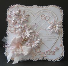Use Tim h. Die and use edge punch around the edge 60th Birthday Cards For Ladies, Special Birthday Cards, Handmade Birthday Cards, Wedding Anniversary Cards, Wedding Cards, Anniversary Scrapbook, Sister Cards, Handmade Card Making, Spellbinders Cards