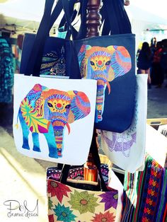 Tote Bags by Pom Graphic Design find them @Society6  #totebags #bags #grocery #clothing #accessories #bags #colorful #elephants #whimsical #ethnic #colorful #floral