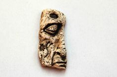 Earthy Brown Face Rustic Pendant Stoneware Ceramic Clay Brown Natural Organic