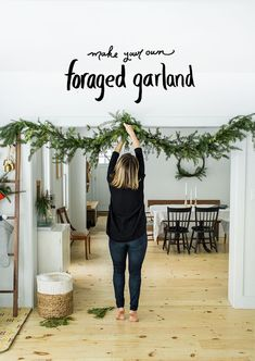 Holiday DIY: Foraged Evergreen Garland (The Fresh Exchange) – Diy Garland 2020 Diy Christmas Garland, Decoration Christmas, Farmhouse Christmas Decor, Noel Christmas, Winter Christmas, Christmas Crafts, Scandinavian Christmas Decorations, Christmas Decor For Kitchen, Simple Christmas Decorations