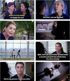 Grey's anatomy...Mer and Cristina just couldn't say goodbye!  Loved how they played this!!