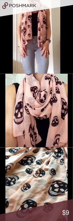 Baby Peach Black Skull Scarf A perfect combination of badass and beautiful. Feminine peach silky scarf with badass black skulls giving it an edgy vibe. Accessories Scarves & Wraps