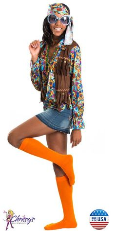 Hippie Halloween Costume w/orange knee socks