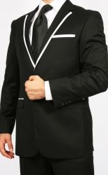 MEN'S BLACK & WHITE TUXEDO SLIM FIT SUIT