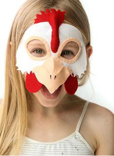 Felt Chicken Mask PATTERN. Instant Download PDF for kids dress ups