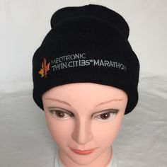 6e20d10ded1 NWOT Medtronic Twin Cities Marathon Running Beanie Knit Hat Black One Size   Unbranded  Beanie