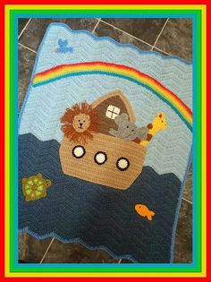 Noah's ark crochet blanket