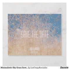 Minimalistic Sky Grass Save the Date Postcard