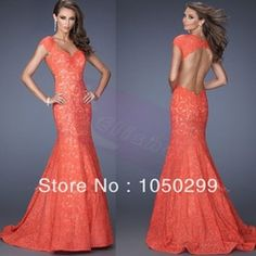Online Shop Free Shipping Coral 2014-2015 Hot Sale Elegant Floor Length Sweetheart Neckline Cap Sleeves Open Back Lace Mermaid Prom Dress|Aliexpress Mobile