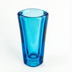 Bohemian Vintage Turquoise Glass Vase by Milos Filip for