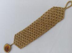Macrame bracelet Gold bracelet Boho bracelet Hipie by AnKaArts