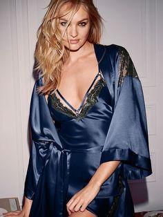 Blue Silk  amp  Lace Robe Silk Chemise 9fb5900e1