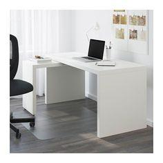 MALM Työpöytä + ulos vedettävä taso - valkoinen - IKEA