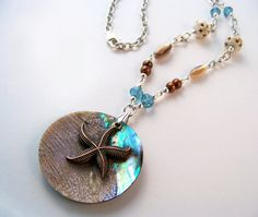 Nature is pretty amazing isn't it! A gorgeous abalone shell design with natural pearls for an elegant touch. Measures 36 inches around neckline. Secured with a large swivel-style lobster clasp. Perfect for a beach inspired wedding. Starfish Necklace, Beach Wedding Inspiration, Jewelry Art, Unique Jewelry, Amazing Shopping, Gifts For Nature Lovers, Handcrafted Jewelry, Handmade Art, Bone Carving